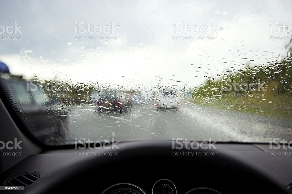 Driving in rainy weather royalty-free stock photo