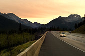 Driving Trans-Canada highway through Rocky Mountains