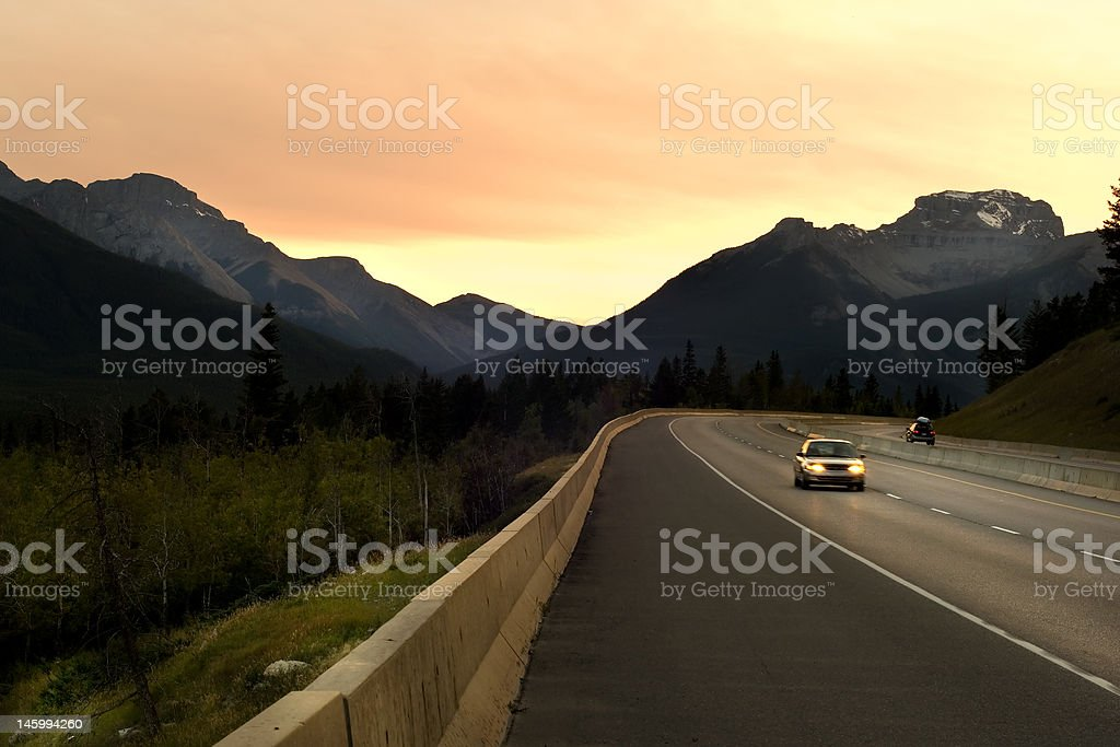 Driving in Rockies stock photo
