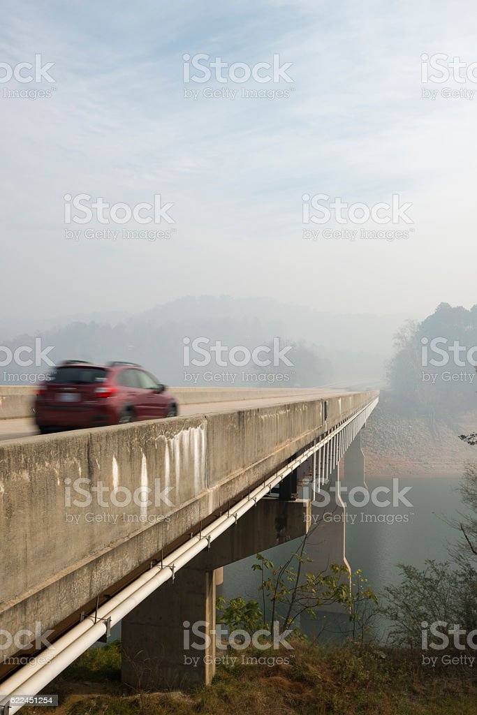 Driving in smoke from forest fires in western North Carolina stock photo
