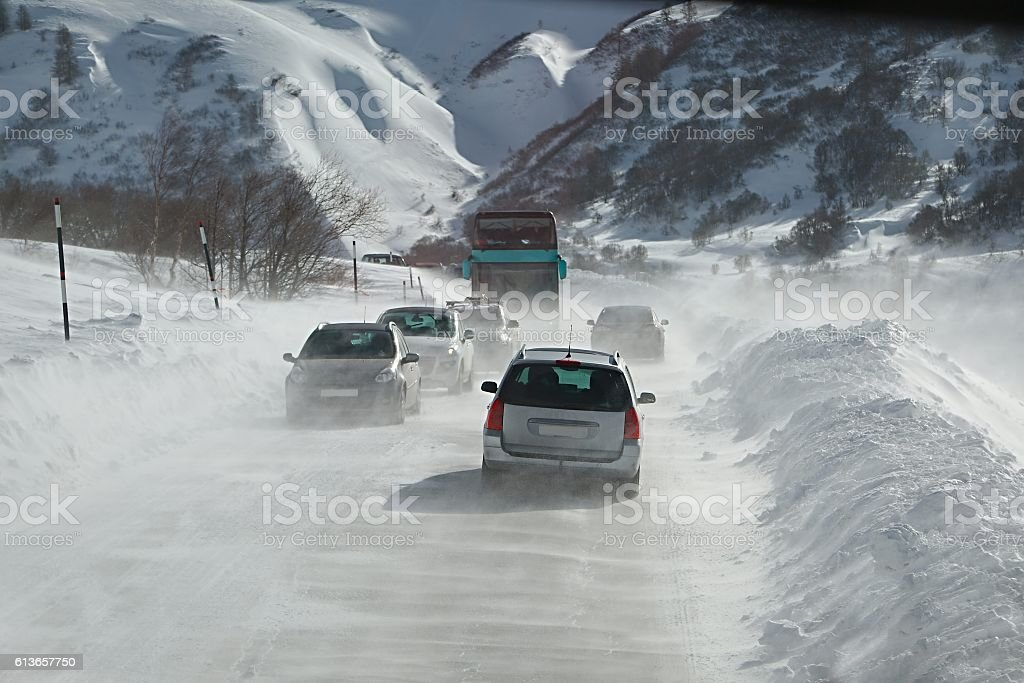 Driving in snow storm stock photo