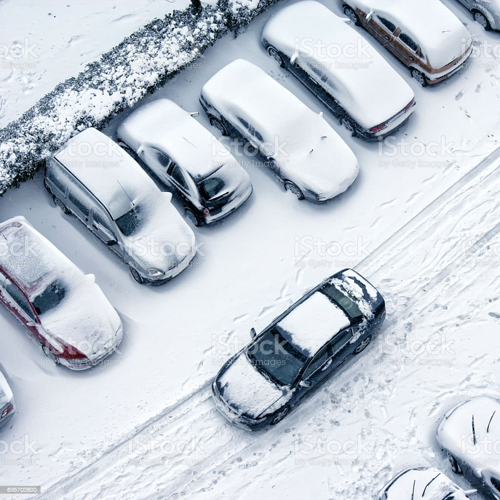 driving in snowy winter royalty-free stock photo