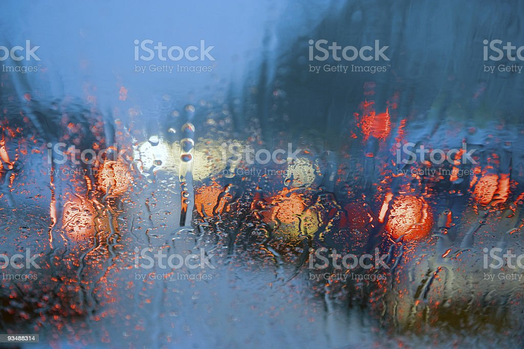 Driving in storm royalty-free stock photo