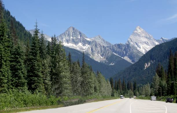 driving in the canadian rockies - british columbia glacier national park stock pictures, royalty-free photos & images