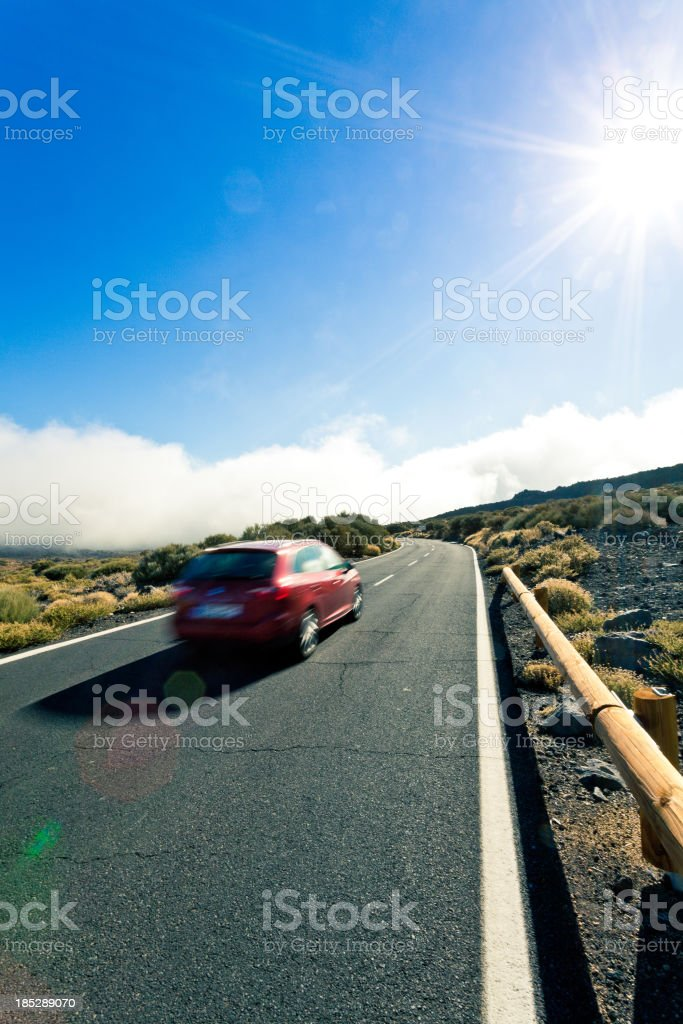 Driving in the Desert, El Teide National Park, Canary Islands stock photo