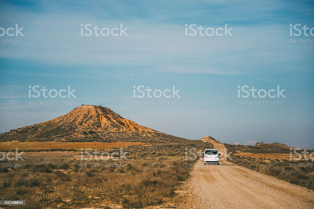 Driving in the desert stock photo