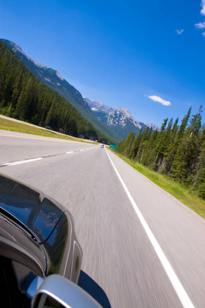Driving in the Mountains stock photo