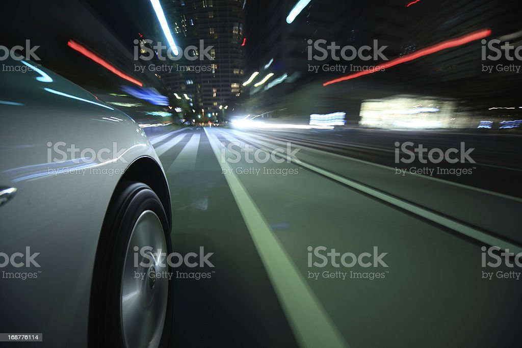Driving in the night city stock photo