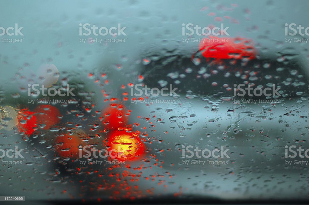 Driving in the rain royalty-free stock photo