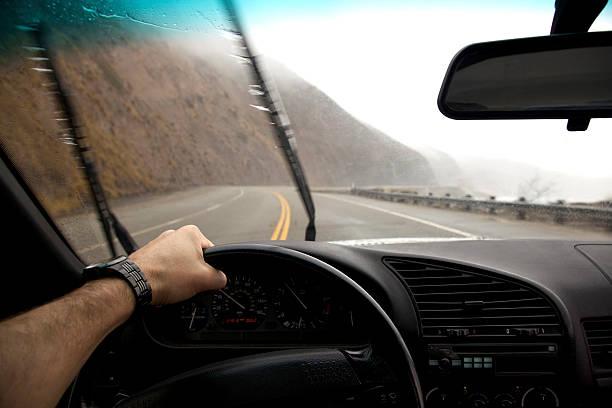 Driving in the rain. stock photo
