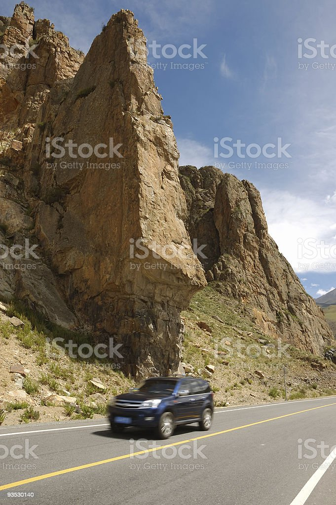 Driving in Tibet royalty-free stock photo