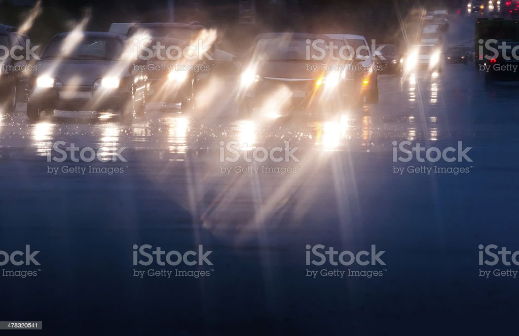 Driving in traffic and rain royalty-free stock photo