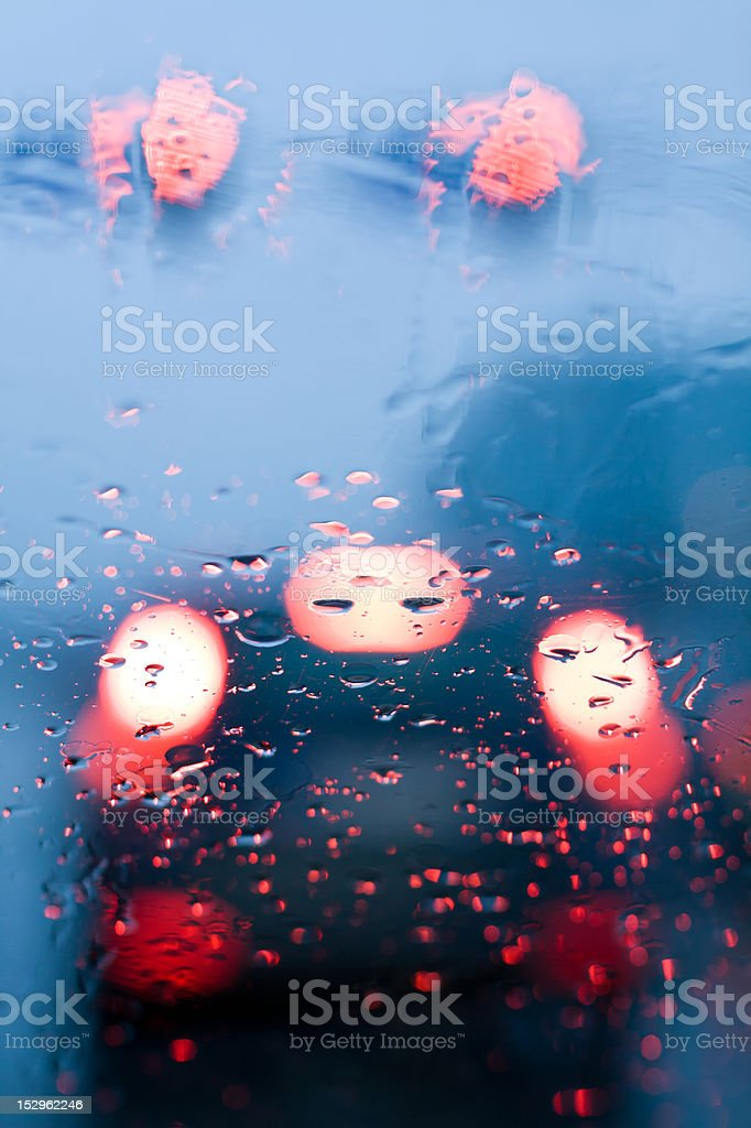 Driving in traffic jam and rain royalty-free stock photo
