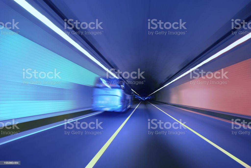 Driving in Tunnel royalty-free stock photo