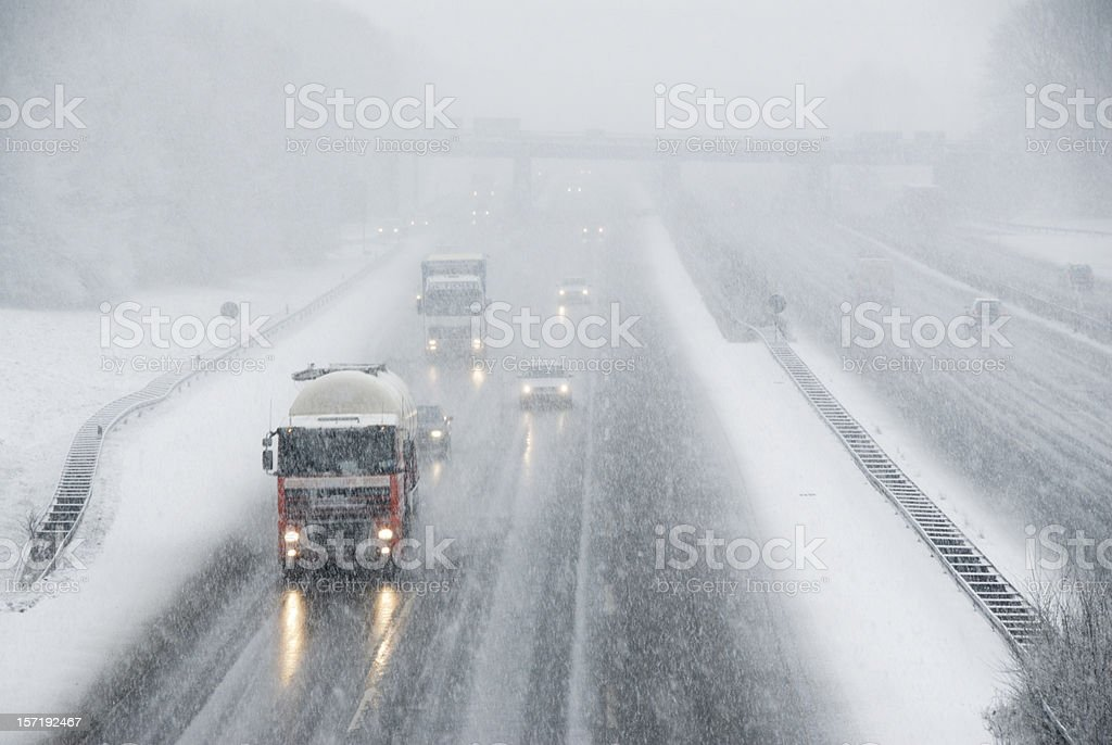 driving in winter stock photo