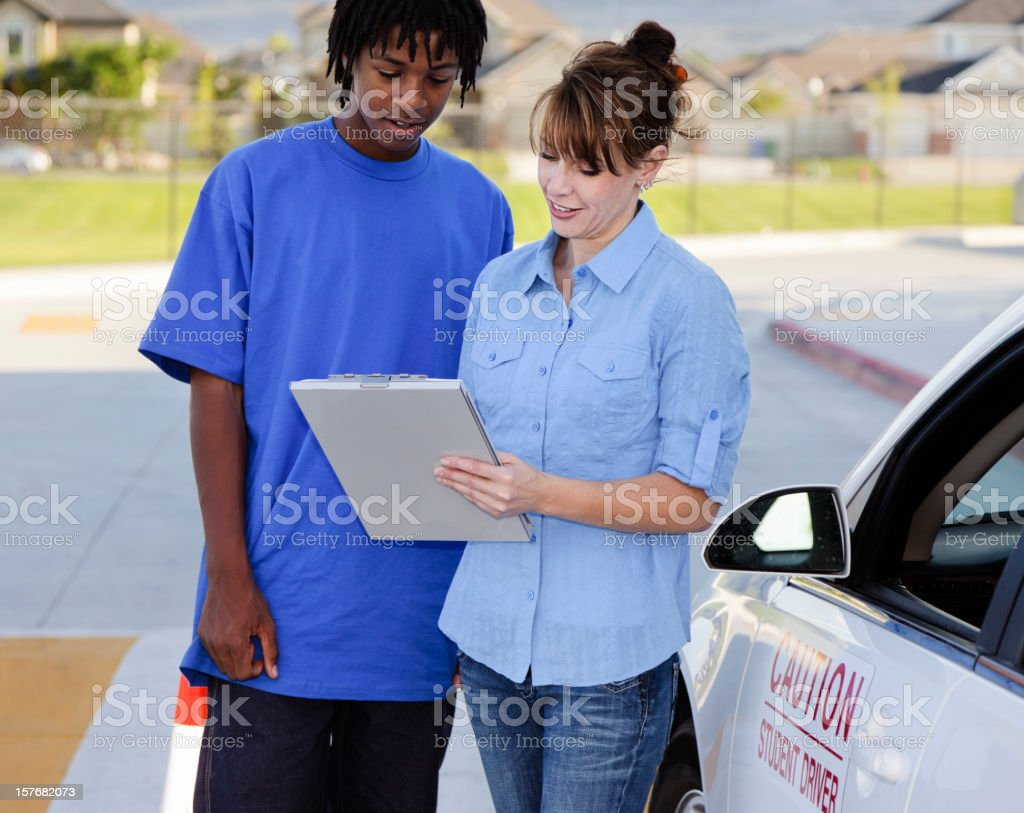 Driving Instructor and Student royalty-free stock photo