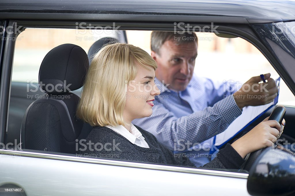 driving instructor stock photo