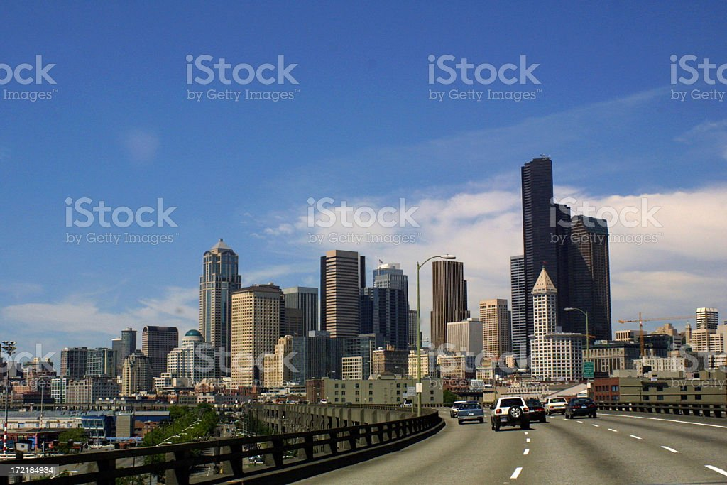 Driving into Seattle royalty-free stock photo