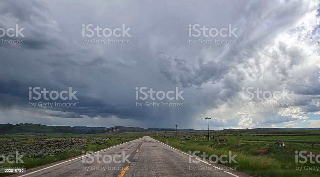 Driving Into Severe Weather Storm stock photo
