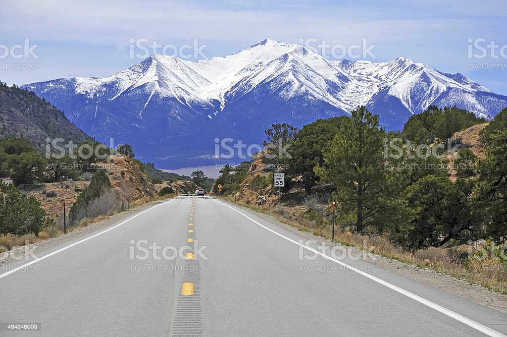 Driving into the Rocky Mountains stock photo