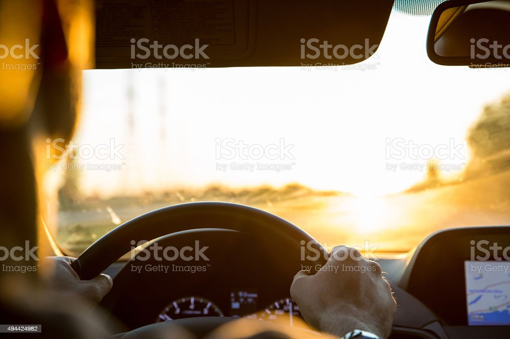 Driving into the Sunset stock photo