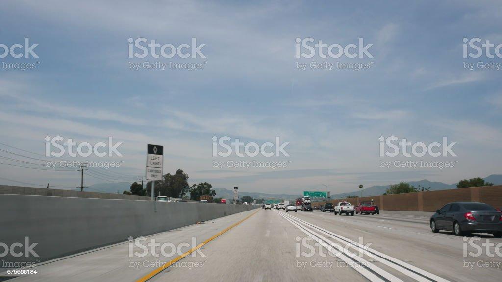 Driving POV Los Angeles Freeway 4k stock photo