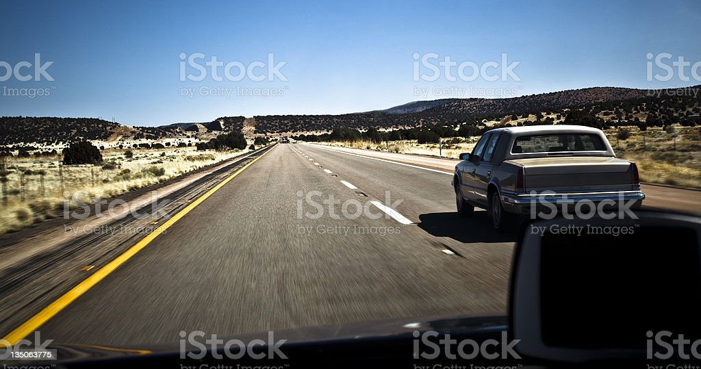 Driving on a highway royalty-free stock photo