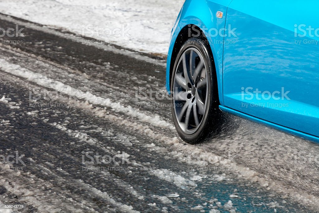 Driving on a snowy road. stock photo
