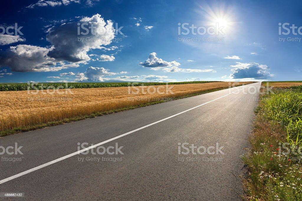 Conducción en carretera asfaltada vacía en un día soleado - foto de stock