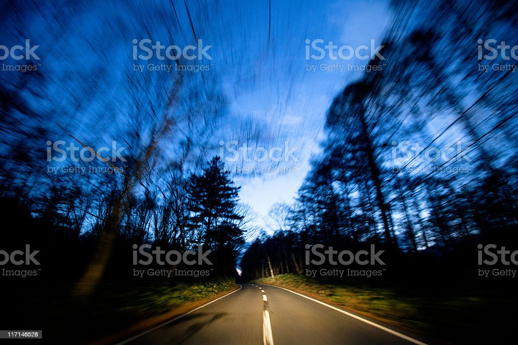 Driving on country road at sunset in Japan royalty-free stock photo