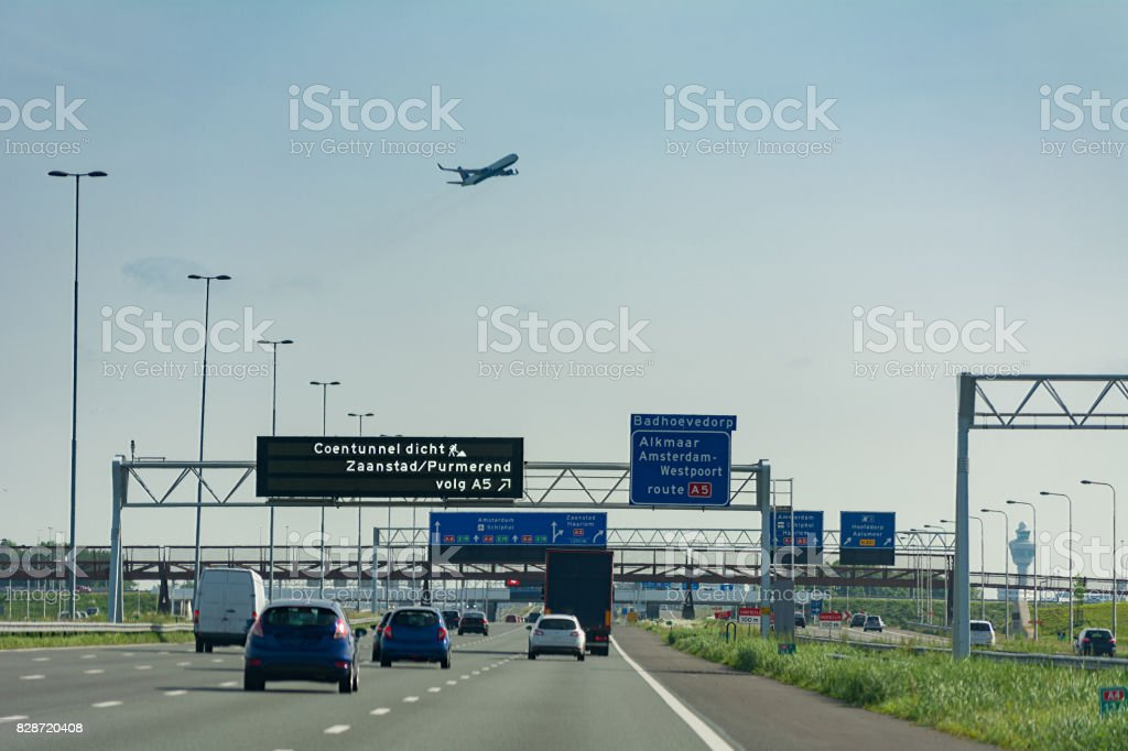 Driving on highway next to schiphol Amsterdam Airport stock photo