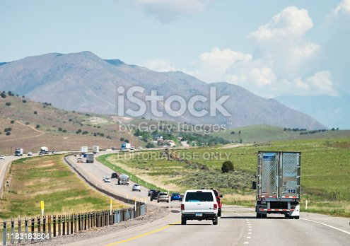 Utah, USA - Cars and trucks driving south on a rural section of Interstate 15 in Utah.