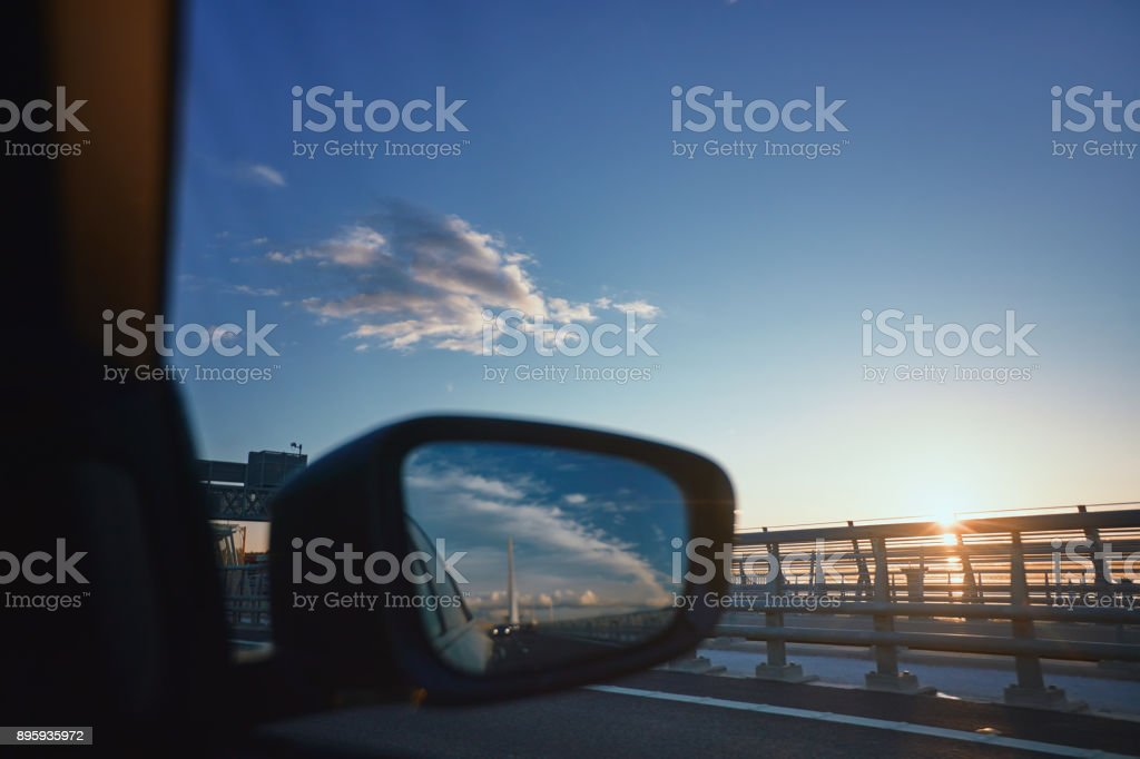 Driving on Queensferry Crossing bridge at night stock photo