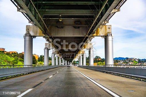Driving on Richmond - San Rafael bridge (John F. McCarthy Memorial Bridge), San Francisco bay, California