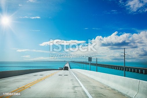 Driving on Seven Miles Bridge on a clear day. Southern Florida, USA