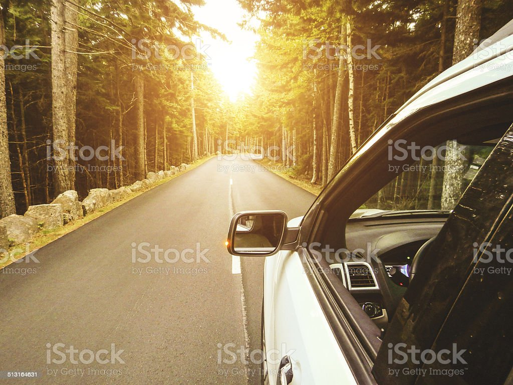 Driving on the acadia national park stock photo