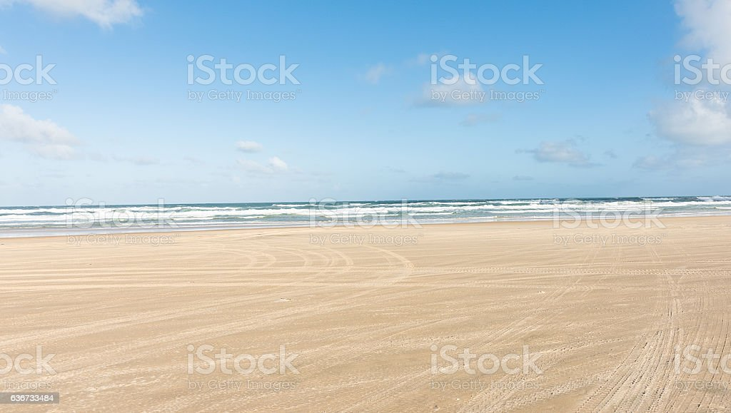 Driving on the beach on Fraser Island in Australia stock photo
