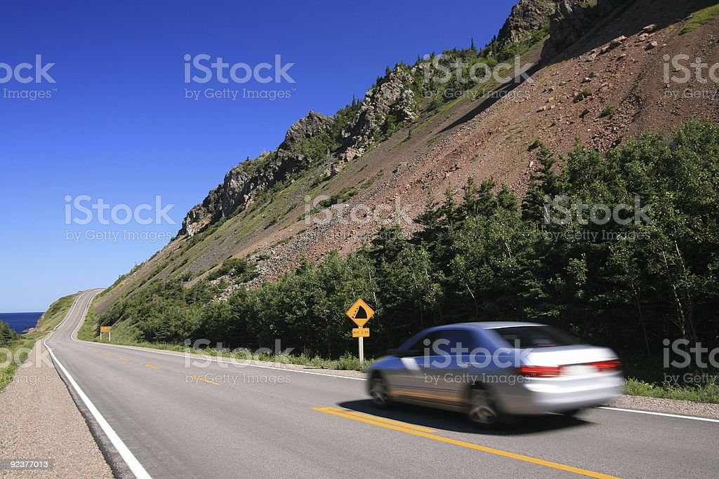 Driving on the Cabot Trail royalty-free stock photo