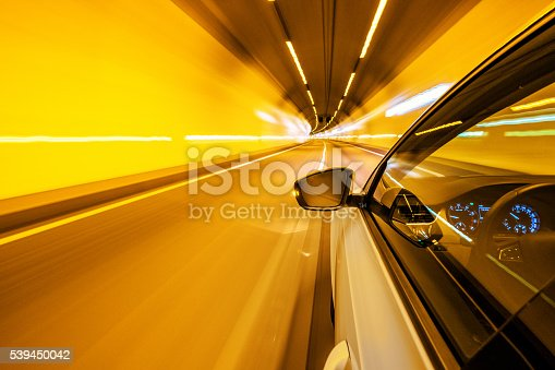 Driving in a tunnel on a motorway