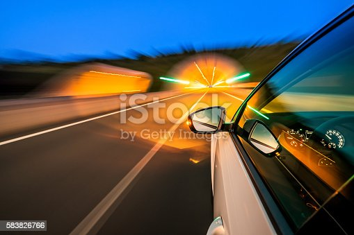 Driving at dawn on a motorway