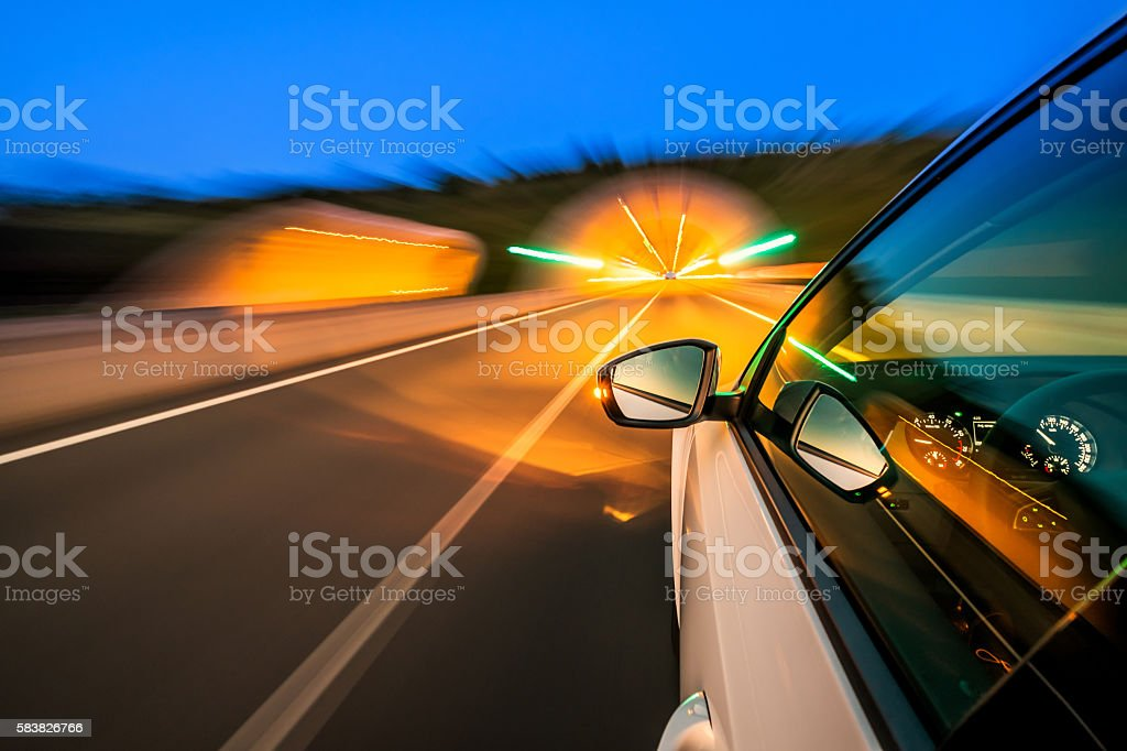 Driving on the motorway stock photo