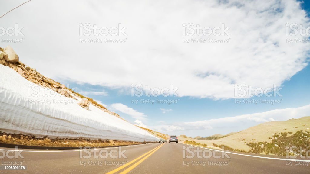 Driving on the road in summer stock photo