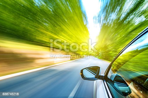Driving on a beautiful spring day.