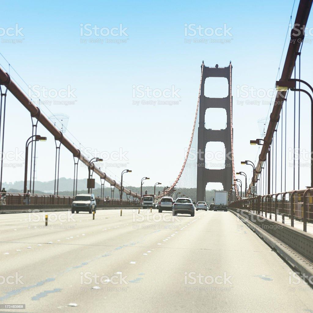 Driving on the San Francisco golden gate bridge royalty-free stock photo