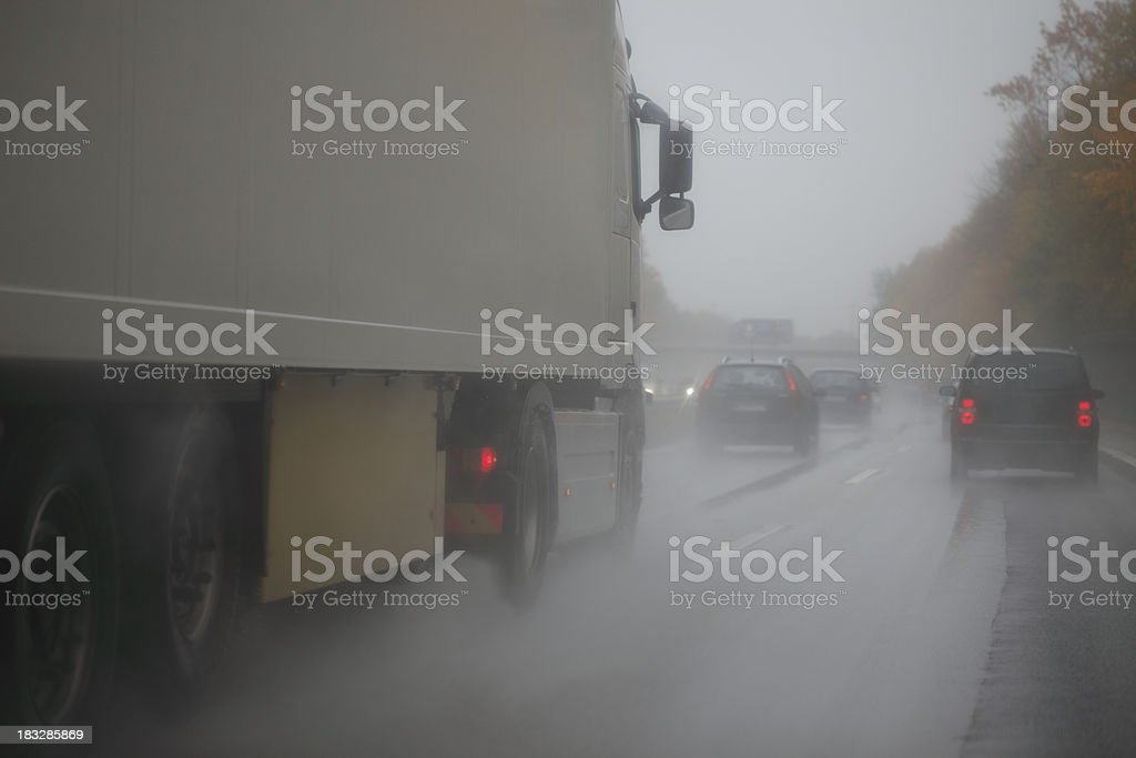 Driving on Wet Highway royalty-free stock photo
