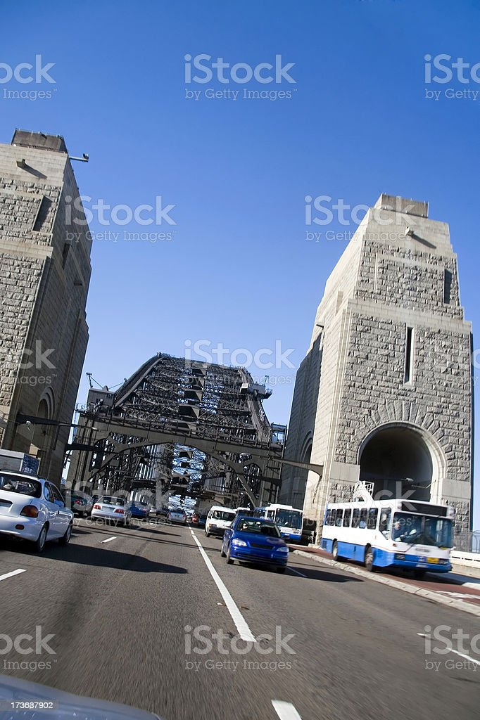 Driving over a bridge royalty-free stock photo