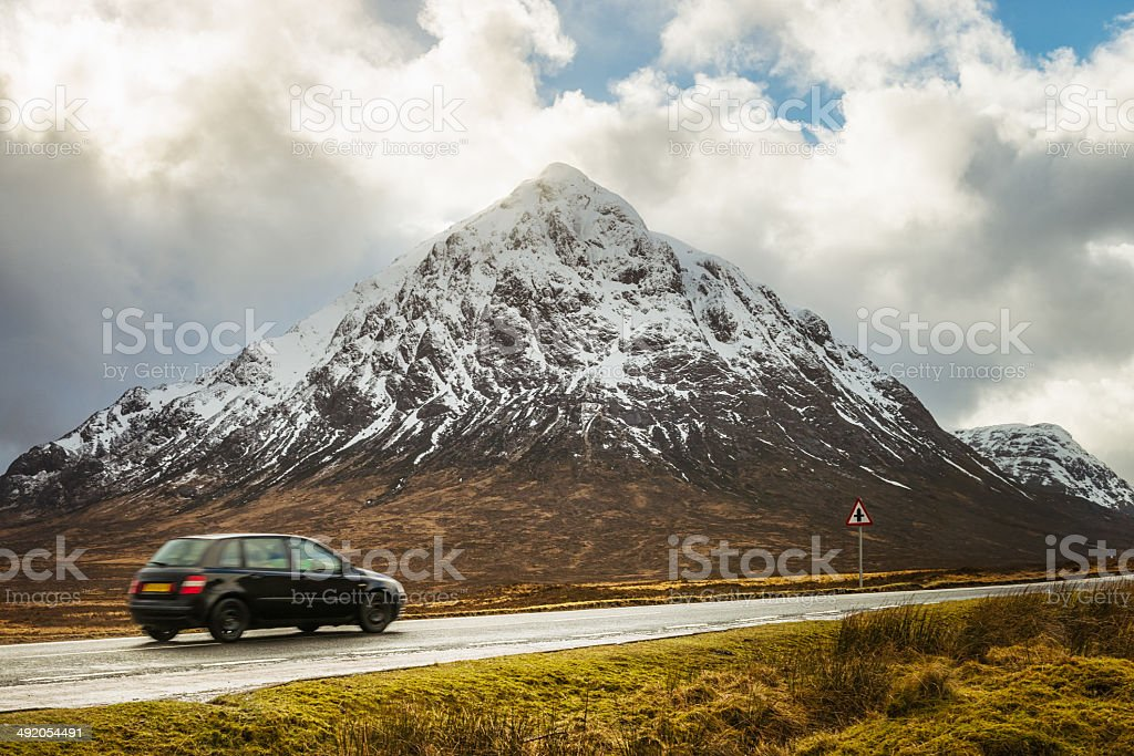 Driving past Buachaille Etive Mor stock photo