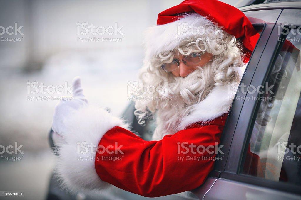 Driving Santa. stock photo