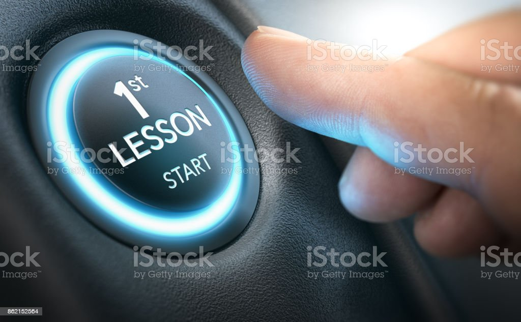 Driving School Concept, First Lesson for a Complete Beginner stock photo