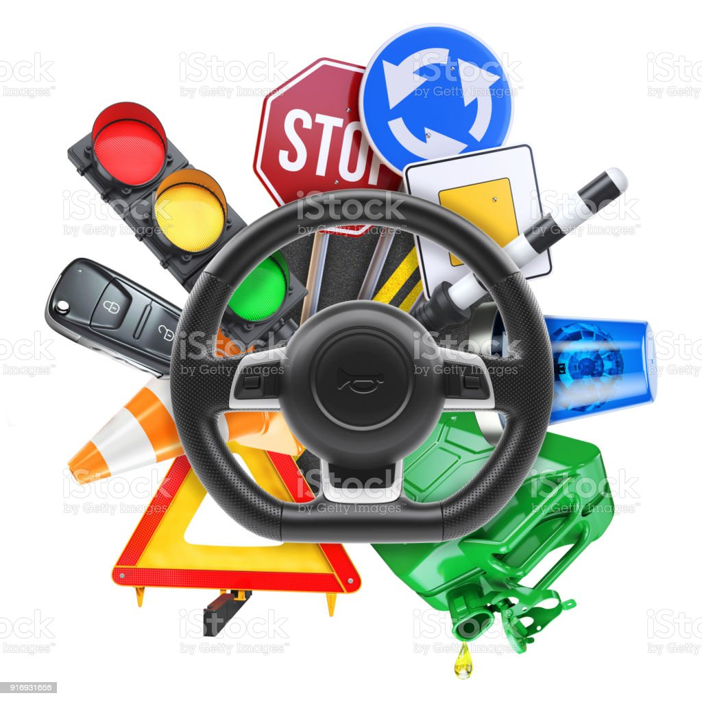 Logotipo da escola de condução 3D - foto de acervo